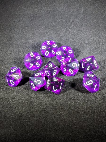 Dice Sets: Purple/White Translucent d10 Set (10)