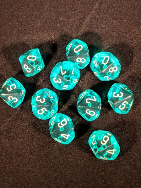 Dice Sets: Teal/White Translucent d10 Set (10)