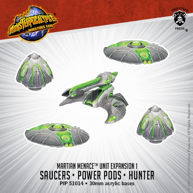 Monsterpocalypse: Saucers, Power Pods & Hunter - Martian Menace Units (resin)