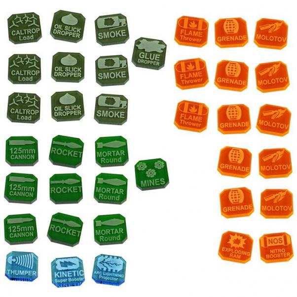 Gaslands: (Accessory) Weapons Tokens Set, Multi-Colored (38)