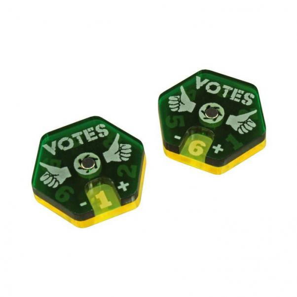Gaslands: (Accessory) Vote Dials, Translucent Green & Fluorescent Yellow (2)