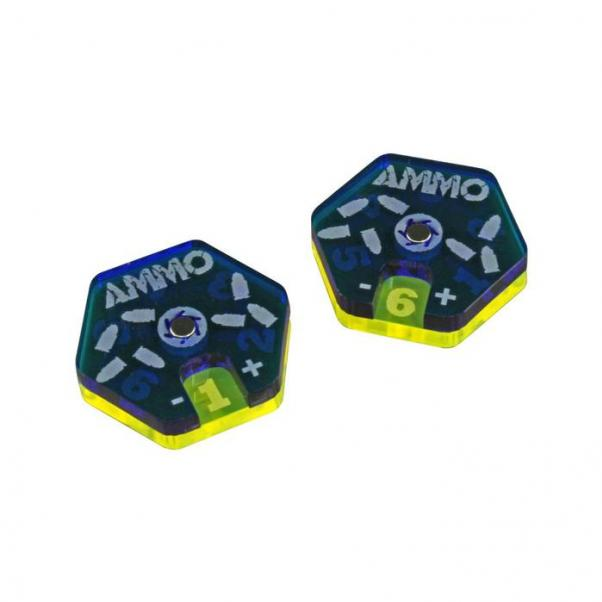 Gaslands: (Accessory) Ammo Dials, Translucent Blue & Fluorescent Yellow (2)