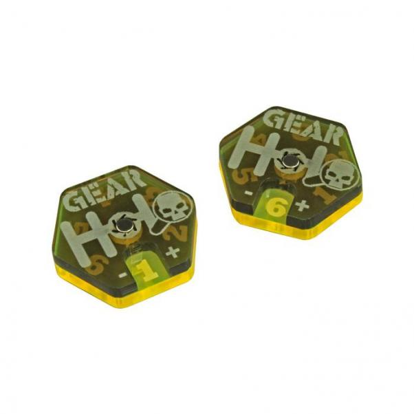 Gaslands: (Accessory) Gear Dials, Translucent Grey & Fluorescent Yellow (2)