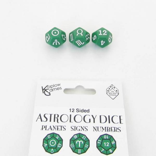 Astrology Dice: Astrology Dice Planets and Signs and Numbers - Green (3)