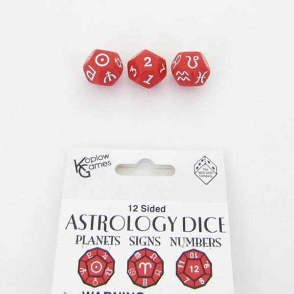 Astrology Dice: Astrology Dice Planets and Signs and Numbers - Red (3)