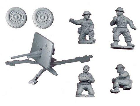 Crusader Miniatures: British 2pdr AT Gun and Crew Pack (1 AT gun, 4 crew)