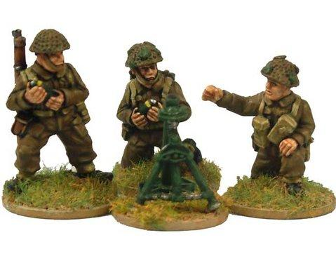 "Crusader Miniatures: Late British 3"" Mortar Pack (1 mortar, 3 crew)"