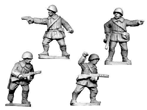 Crusader Miniatures: Russian Command, Winter Uniform wearing helmets (4)