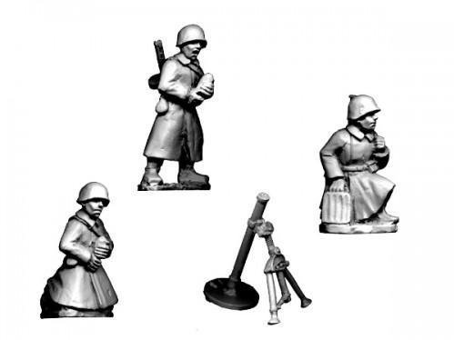 Crusader Miniatures: Russian Mortar (crew in Greatcoats) (4pcs)