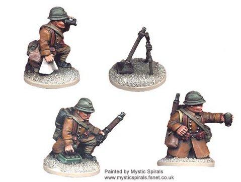Crusader Miniatures: French 60mm Mortar & crew (1 mortar, 3 crew)