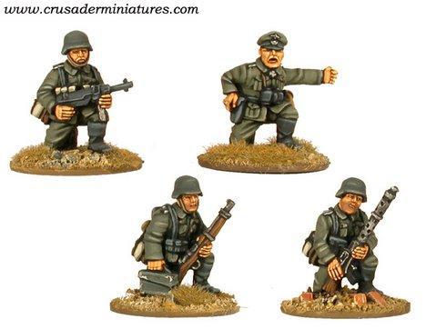 Crusader Miniatures: German MG34 Team & Command Kneeling (4)