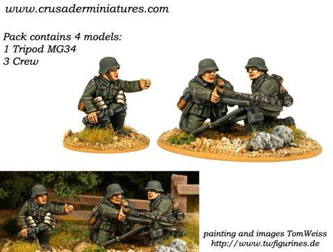 Crusader Miniatures: German HMG (1 Tripod MG34, 3 crew)