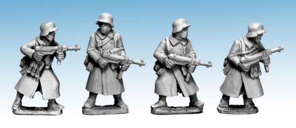 Crusader Miniatures: German Infantry in Greatcoats (SMG) (4)