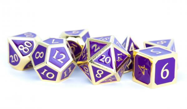 Metallic Dice Set: 16mm Polyhedral Gold with Purple Enamel (7)
