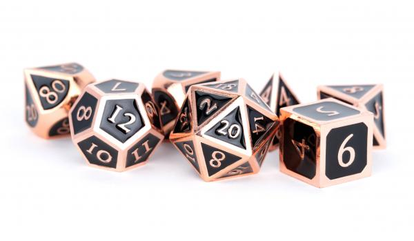Metallic Dice Set: 16mm Polyhedral Antique Copper with Black Enamel (7)