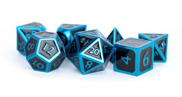 Metallic Dice Set: 16mm Polyhedral Blue with Black Enamel (7)