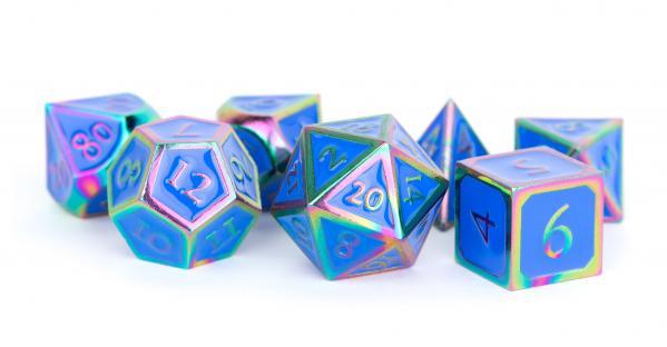 Metallic Dice Set: 16mm Polyhedral Rainbow with Blue Enamel (7)