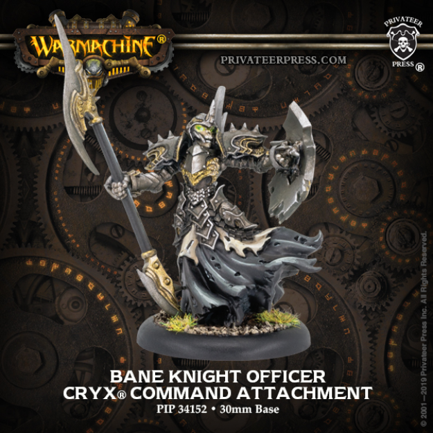 Warmachine: (Cryx) Bane Knight Officer– Cryx Command Attachment (metal/resin)