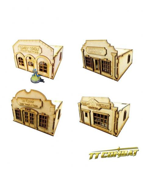 28mm Terrain: Old Town Scenics - 4 Stores Set