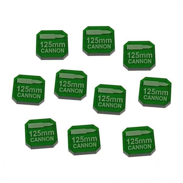 Gaslands: (Accessory) 125mm Cannon Ammo Tokens, Translucent Green (10)