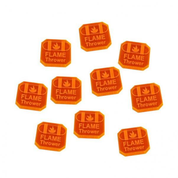 Gaslands: (Accessory) Flame Thrower Ammo Tokens, Fluorescent Orange (10)