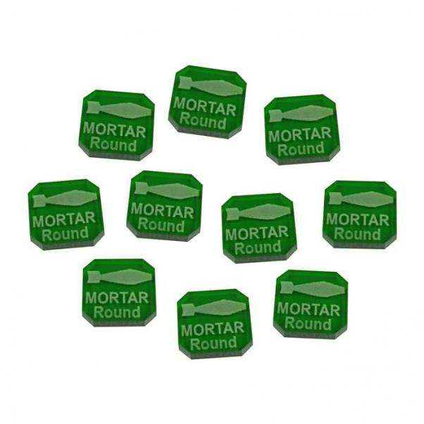 Gaslands: (Accessory) Mortar Round Ammo Tokens, Translucent Green (10)