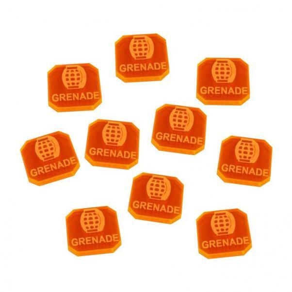 Gaslands: (Accessory) Grenade Tokens, Fluorescent Orange (10)