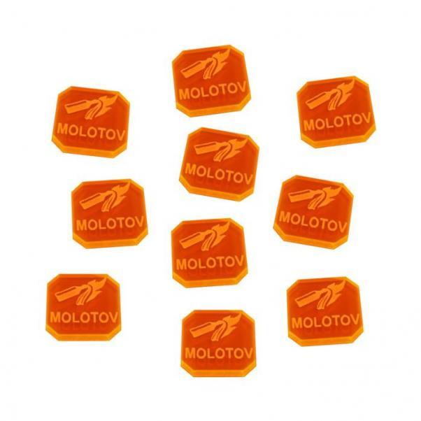 Gaslands: (Accessory) Molotov Ammo Tokens, Fluorescent Orange (10)