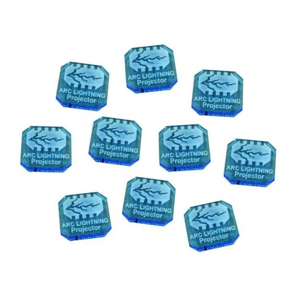 Gaslands: (Accessory) Arc Lightning Projector Ammo Tokens, Fluorescent Blue (10)
