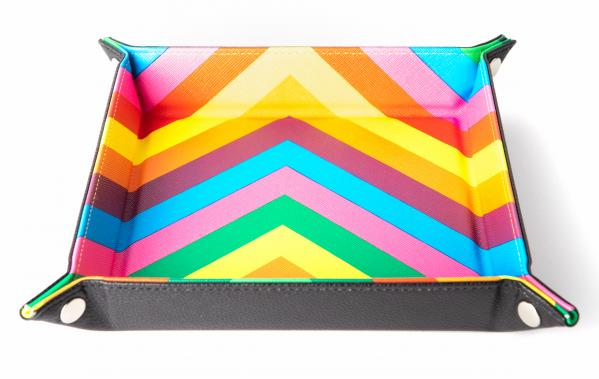 Velvet Folding Dice Tray: 10''x10'' Rainbow with Leather Backing