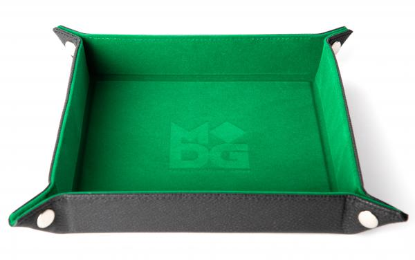 Velvet Folding Dice Tray: 10''x10'' Green with Leather Backing