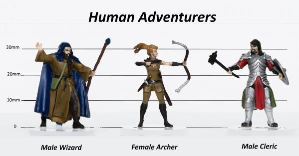 28mm Fantasy: Characters of Adventure (Human) Set B - Archer, Wizard, Ranger (3)