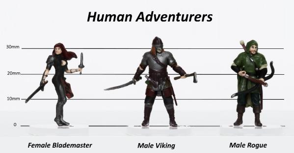 28mm Fantasy: Characters of Adventure (Human) Set C - Blademaster, Cleric, Viking (3)