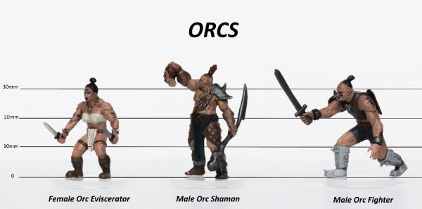 28mm Fantasy: Characters of Adventure (Orcs) Set C - Eviscerator, Shaman, Warrior (3)