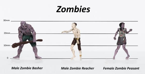 28mm Fantasy: Characters of Adventure (Zombies) Set B - Basher, Reacher, Peasant (3)