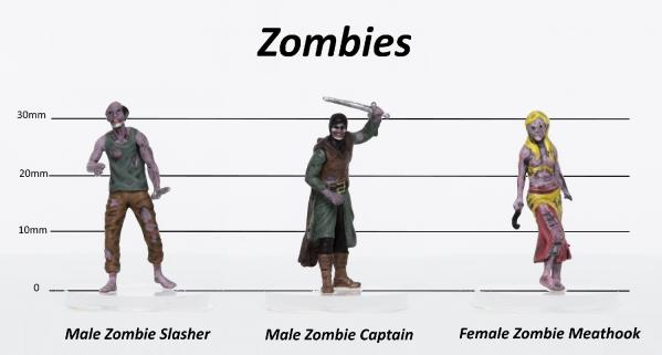 28mm Fantasy: Characters of Adventure (Zombies) Set C - Slasher, Captain, Butcher (3)