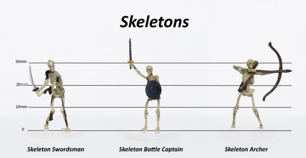 28mm Fantasy: Characters of Adventure (Skeletons) Set C - Swordsman, Battle Captain, Archer (3)