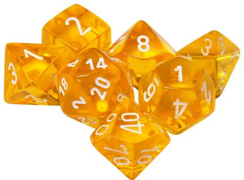 Chessex RPG Dice Sets: Translucent Polyhedral Yellow w/white numbers 7-Die Set