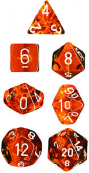Chessex RPG Dice Sets: Translucent Polyhedral Orange w/white numbers 7-Die Set