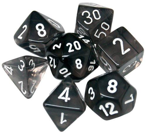 Chessex RPG Dice Sets: Translucent Polyhedral Smoke w/white numbers 7-Die Set