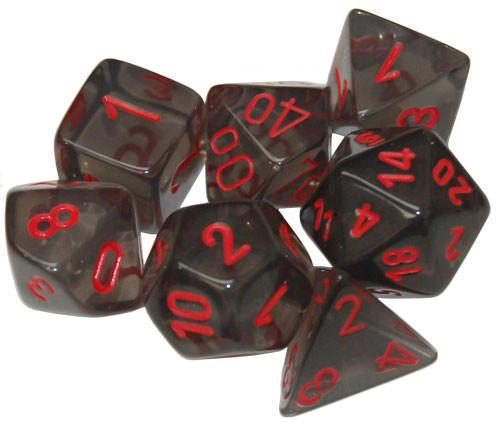 Chessex RPG Dice Sets: Translucent Polyhedral Smoke w/red numbers 7-Die Set