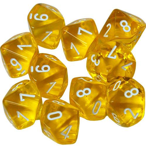 Dice Sets: Yellow w/white numbers Translucent d10 Set (10)