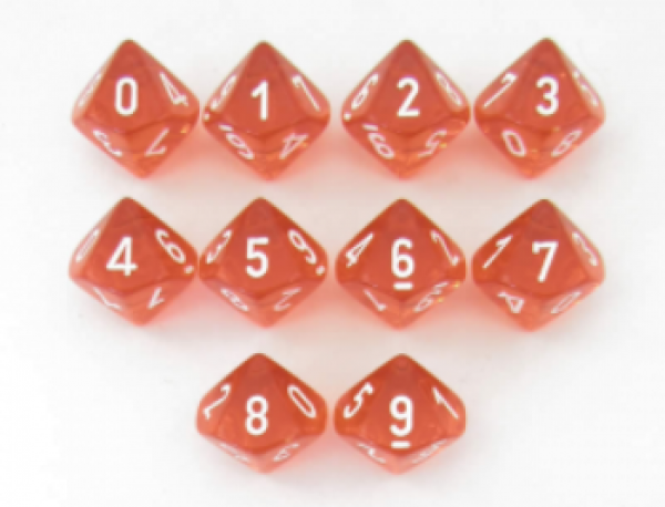 Dice Sets: Orange w/white numbers Translucent d10 Set (10)