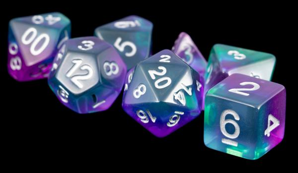 Polyhedral Dice Set: (Resin) Blue Aurora (7 die set)