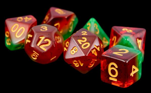 Polyhedral Dice Set: (Resin) Fruit Watermellon (7 die set)