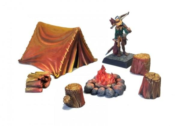 Terrain Accessories: Camp site Tent with fire place (6 pcs)