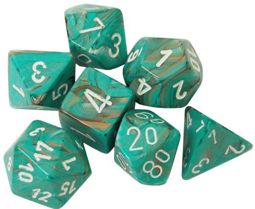 Chessex Dice Sets: Menagerie #10 - Marble Oxi-Copper w/white Polyhedral Dice Set (7)