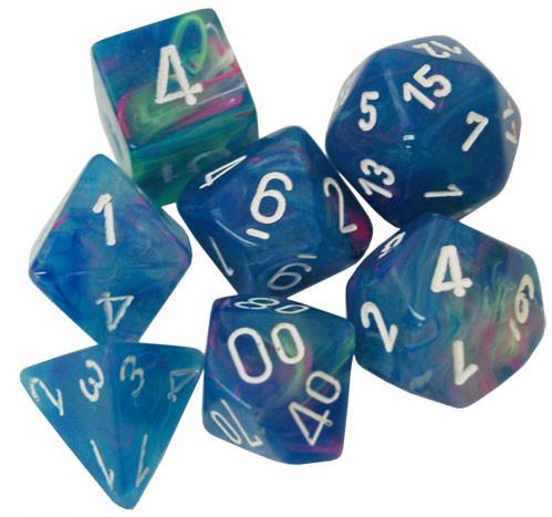 Chessex Dice Sets: Menagerie #10 - Festive Waterlily w/white Polyhedral Dice Set (7)