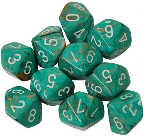 Chessex Dice Sets: Menagerie #10 - Marble Oxi-Copper w/white d10 Set (10)