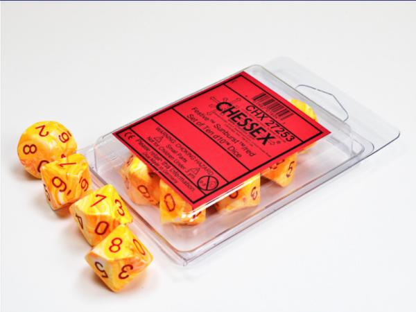 Chessex Dice Sets: Menagerie #10 - Festive Sunburst w/red d10 Set (10)